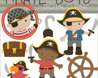 Pirate Clip Art -Personal and Limited Commercial Use- Boy Pirates, Hook, Parrot, Buried Treasure, Pirate Clipart