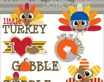 Thanksgiving Clipart -Personal and Limited Commercial Use-  Turkey clipart