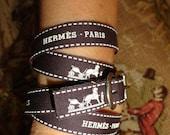 Authentic HERMES Brown Caleche Ribbon ~Quadruple Wrap Bracelet ~Necklace Choker
