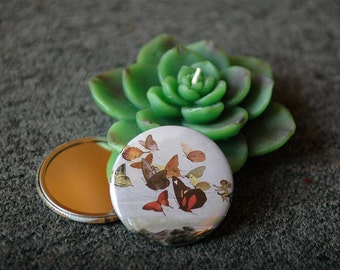 Pocket Mirror - Butterfly Chariot With Organza Gift Bag - Ready To Ship