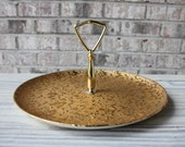 Vintage hand decorated weeping bright gold 22 kt gold made in USA serving tray dessert dish