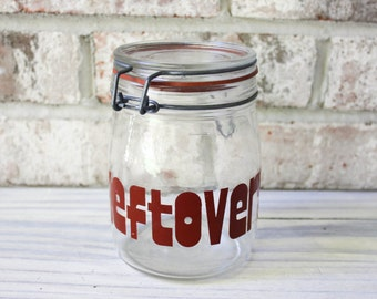 Vintage glass leftover jar with retro typography red