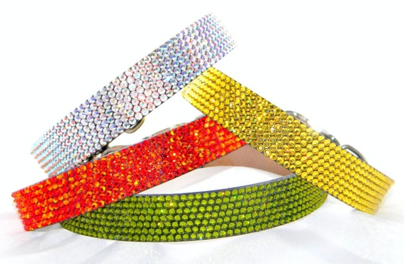 """Custom Bling 14-16"""" medium Leather Crystal Pet Collars by Glass Slippers w/ Swarovski gems choose +70 shades for Dog or large Cat"""