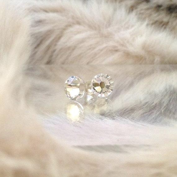 1.8mm Crystal Clear Hypoallergenic Safe w/ Swarovski Rhinestones Silver Stud Titanium Earrings Helix Xirius Minimalist Jewellery Gift Ladies
