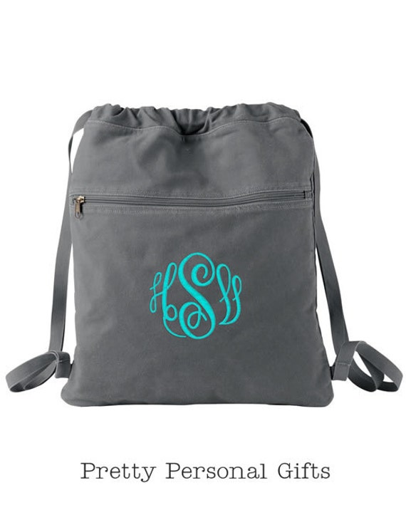 Monogrammed Cinch Sack Personalized Canvas Drawstring Bag