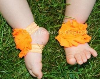 Bright Orange Baby Barefoot Sandals.