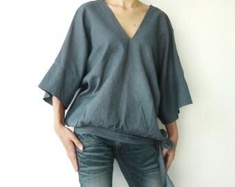 NO.13 Gray Cotton V-Neck Top, Dolman Sleeves Top, Women's Top
