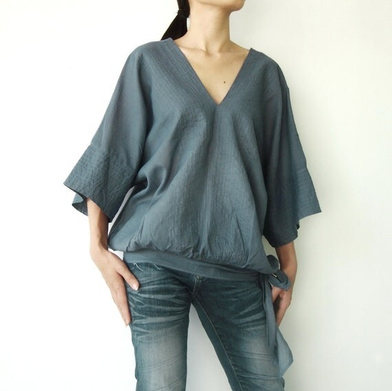 NO.13   Bluish Grey Cotton V-Neck Top
