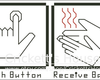 Push Button - Cross Stitch Pattern - Geek - Meme - Bacon - Hand Dryer - INSTANT DOWNLOAD