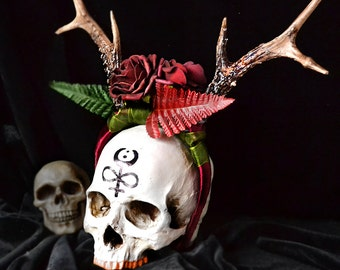Animal-friendly Antlers headpiece with faux red roses by Mortiis.M Vegan