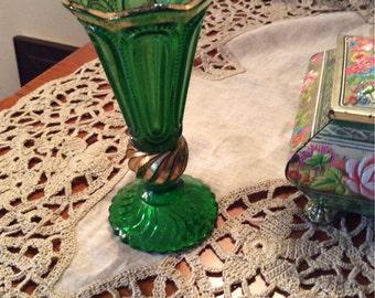 Green cut glass bud vase