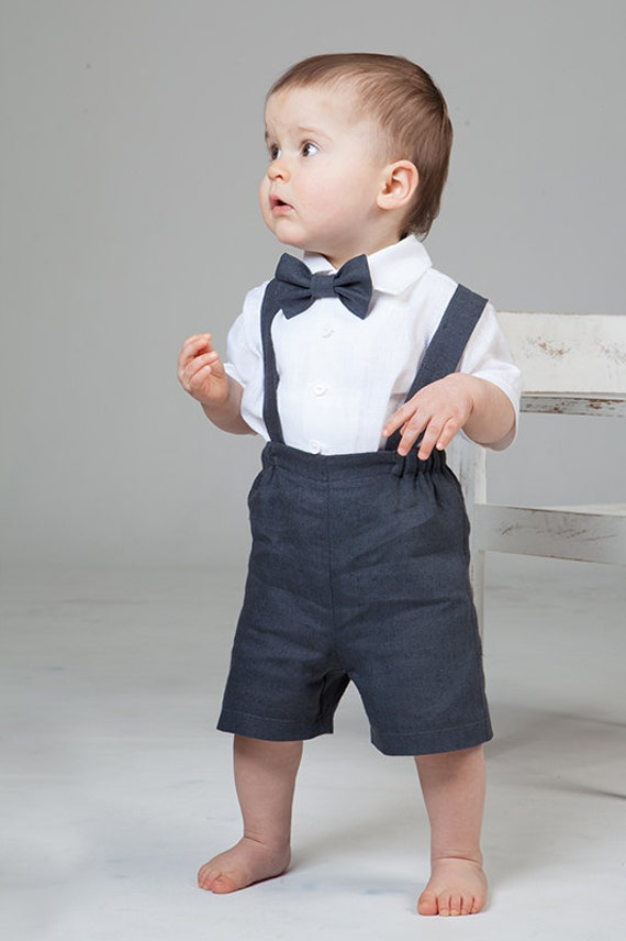 Baby Boy Linen Suit Ring Bearer Outfit First Birthday
