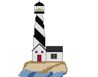 Keeping Watch Lighthouse Cross Stitch Pattern - Instant Download