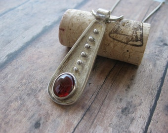 Solid Silver and Garnet Pendant
