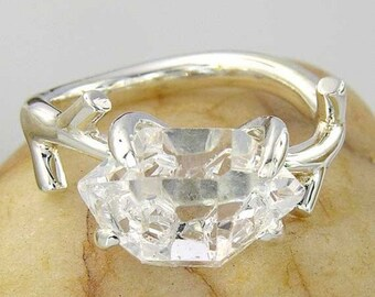 Herkimer Diamond Ring Engagement Silver Gold Ring Enhydro Quartz Gift Idea SKU1863