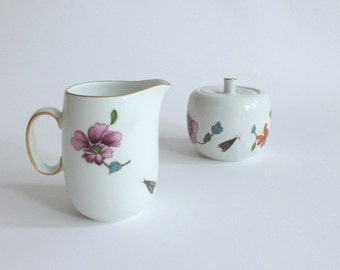 Royal Worcester Astley Cream and Sugar. Floral Displays. Gold Trim. Porcelain. Oven to Table Ware. England.