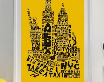 New York Skyline Typography Print