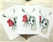 The skull, the rose and the girl - greeting card