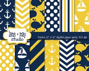 digital scrapbook papers - navy, white and yellow nautical / whale theme patterns - INSTANT DOWNLOAD