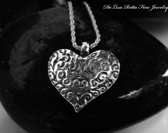 Recycled Silver, Heart, Necklace, Pendant, Valentine's Day Gift, Gift