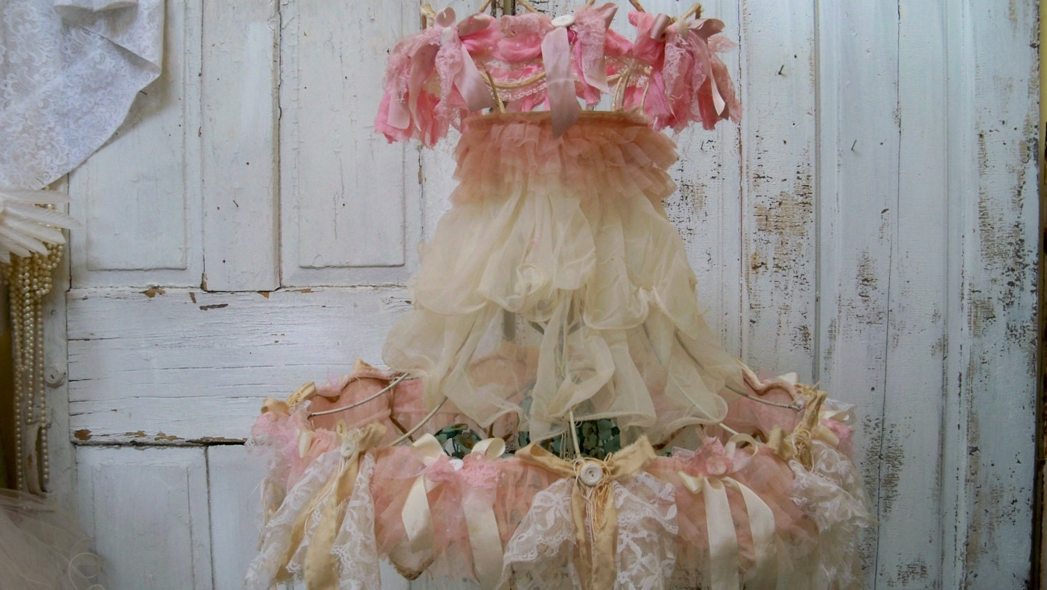 shabby chic lamp shade large pink and cream embellished. Black Bedroom Furniture Sets. Home Design Ideas