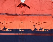 Vintage 1990s Orange and Blue Western Shirt with Farm Scene and Pearl Snaps by Roper
