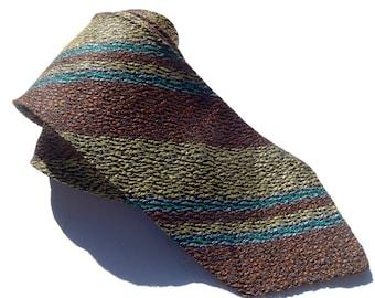 Vintage 1960s Brown and Teal Diagonal Striped Tie