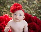 Red Large Peony Headband-Baby Headband-Toddler Headband-Girl Headband-Easter