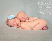 Baby Blue Shabby Chic Flower Headband-Baby Headband, Toddler Headband, Newborn Headband