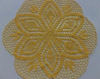"20"" Flower Doily / Crochet doily   / Yellow doily / READY TO SHIP"