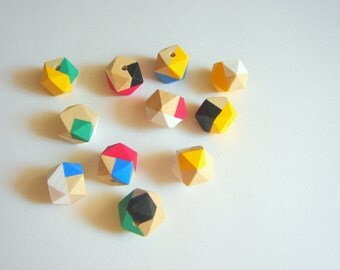 Geometric Hand Painted  Wood Beads 20mm Big Hole,Do it yourself Geometric Jewelry