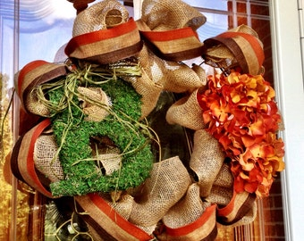 Tan Fall Burlap Wreath with Moss Covered Letter