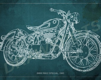 Etsy your place to buy and sell all things handmade bmw r602 special 1965 blueprint art print 8x12in to 60x41in motorcycle art malvernweather Gallery