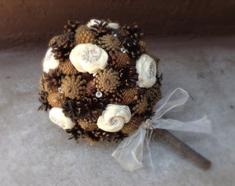 Rustic wedding bouquet pine cone country forest fall winter bridal flowers alternative bouquets