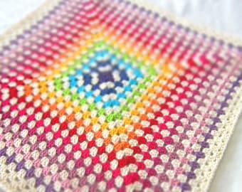 Rainbow Baby Blanket. Crochet Granny Square. Handmade Children Afghan. Kid Stroller Throw. Multicolor Christening Blanket. Baby Shower Gift.