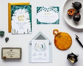 Midsummer Night's Dream Save the Date, Invitation, RSVP, Information Card, Menu, Program, Place Card, Table Number // Grey Ivy Gold