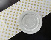 White and Metallic Gold Polka Dot Table Runner
