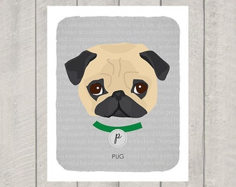Pug - Dog Nursery Art Print - Custom