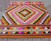 "VINTAGE Turkish Area Rug Kilim Carpet, Handwoven Rug Kilim,Daimond Design,Decorative Rug,Vintage Rug  63,7"" X 86,6"""