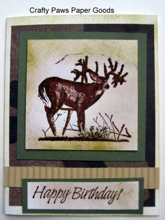 items similar to birthday card for him, deer card, hunting card, Birthday card