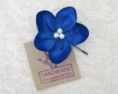Navy Blue Bridesmaids Flower Hair Pin. Navy Blue Flower Pin. Flower Hair Accessory.