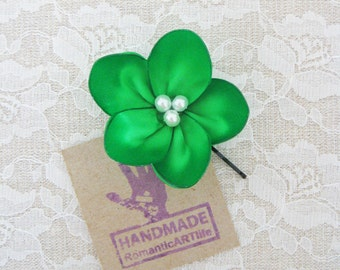 Emerald Green Flower Hair Pin. Emerald Green Flower Hair Piece. Bridesmaid Hair Accessory.