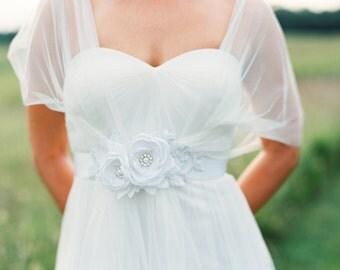 Bridal Flower Sash. Bridal Gown Sash. White Wedding Flower Sash.