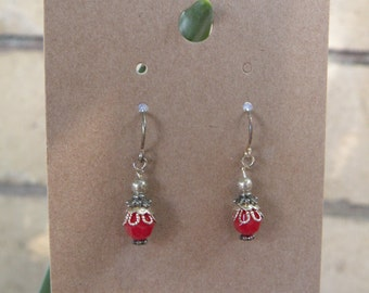Red Swarovski Crystal Earrings w/ Silver Accents