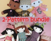 2 pattern bundle - Cloth doll rag doll and baby ragdoll pdf patterns - JENNY & BABY