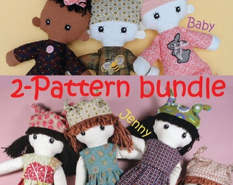 2 pattern bundle - Cloth doll rag doll and baby ragdoll pdf patterns - JENNY & BABY