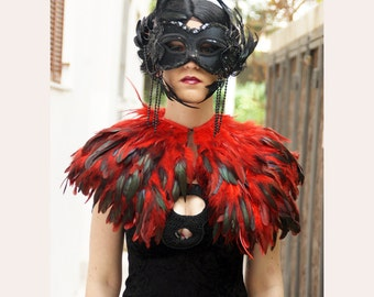 red-black  rooster   feathers  shall.Shoulders  Feathers cape . gothic decadence costume ,vintage capelet .