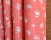 WINTER SALE ⋘ One Pair Window Treatments Curtains Drapery Panels 24W or 50W x 63, 84, 90, 96 or 108L Small Dandelion Coral White shown