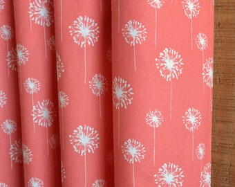 SUMMER SALE! Curtains, Window Treatments, Nursery Baby Room Decor, Curtain Panels,  Small Dandelion Coral White shown