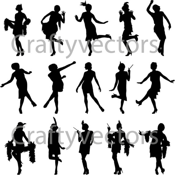 Flapper Girls Silhouette Vector File By Craftyvectors On Etsy
